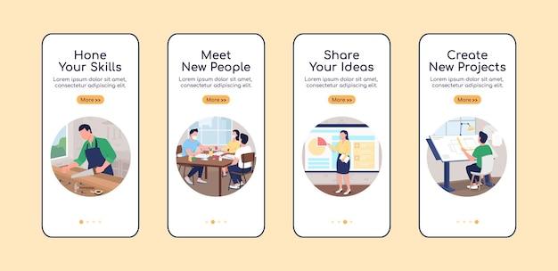 Professionele workshop onboarding mobiele app scherm platte vector sjabloon. walkthrough website 4 stappen met karakters. creatieve ux, ui, gui smartphone cartoon interface, case prints set