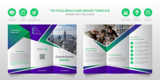 Professionele zakelijke moderne groene en paarse multifunctionele gevouwen brochure of nieuwe zakelijke driebladige brochureontwerpsjabloon