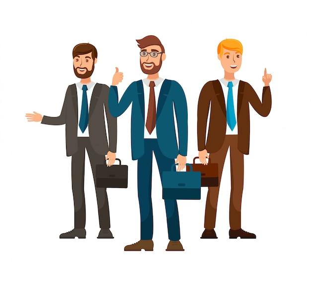 Professionele zakelijke team vlakke kleur illustratie