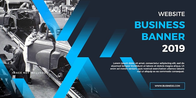 Professionele zakelijke website banner met blauwe vormen