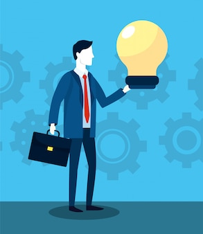 Professionele zakenman met aktentas en bolstrategie