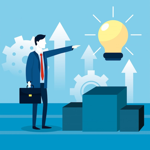 Professionele zakenman met werkmap en lamp idee
