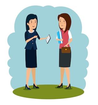 Professionele zakenvrouw praten