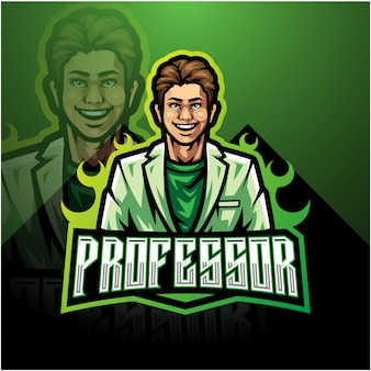 Professor esport mascotte logo sjabloon
