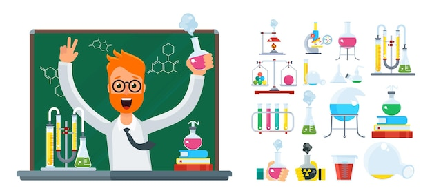 Professor in het laboratorium. jonge, bebaarde mannelijke wetenschapper in het laboratorium.