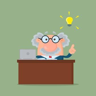 Professor of wetenschapper stripfiguur achter bureau met een groot idee.