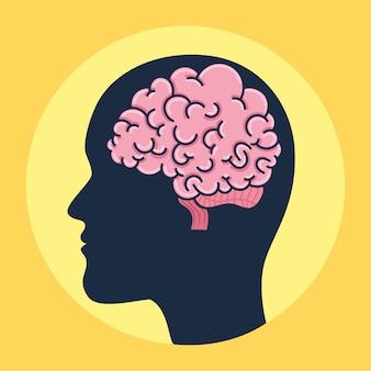 Profiel met hersenen