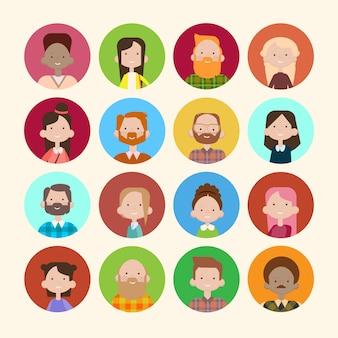 Profiel pictogram avatar beeldgroep de toevallige banner van het de mengelingsras van de mensen grote menigte diverse etnische etnische