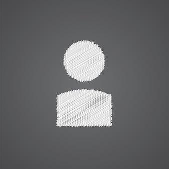 Profiel schets logo doodle pictogram geïsoleerd op donkere achtergrond