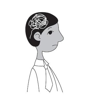 Profiel van een mannelijke manager met witte krabbels in zijn hoofd stress psychologische problemen