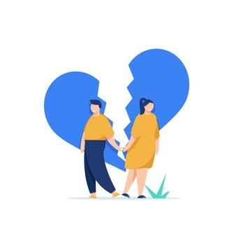 Profielen van een man en een vrouw in een ruzie conflicten tussen man en vrouw