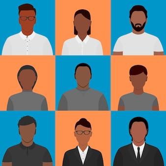 Profielfoto's van afro-amerikanen verschillende geslachten