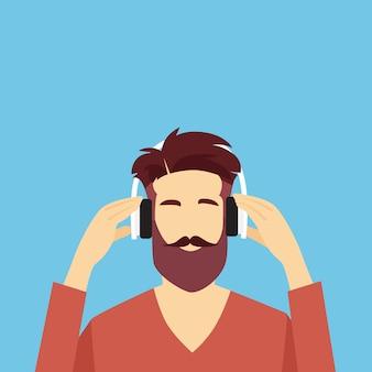 Profielpictogram mannelijke avatar hipster man dragen hoofdtelefoons