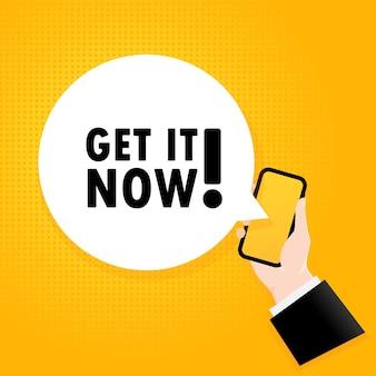 Profiteer nu. smartphone met een bellentekst. poster met tekst nu downloaden. komische retro-stijl. telefoon app tekstballon.