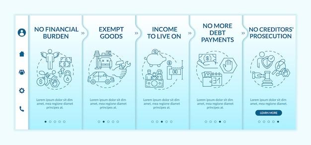 Profiteer van een kredietvrije onboarding-sjabloon. geen schulden meer. geen vervolging door schuldeisers. responsieve mobiele website met pictogrammen. doorloopstapschermen voor webpagina's. kleur concept