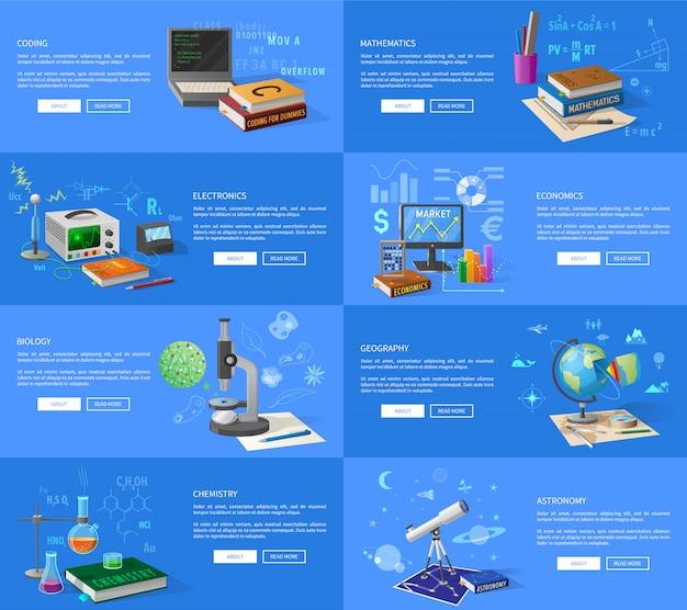 Programma codering, wiskunde en elektronica lessen, economie klas, biologie en scheikunde cursussen, aardrijkskunde en astronomie lezingen