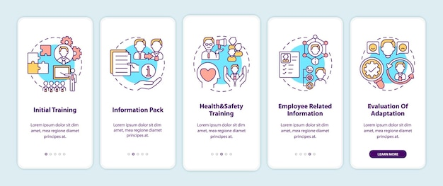 Programma-elementen voor de aanpassing van de werknemer aan het scherm van de mobiele app-pagina met concepten. teamwerk. doorloopstappen werkproces. ui-sjabloonillustraties