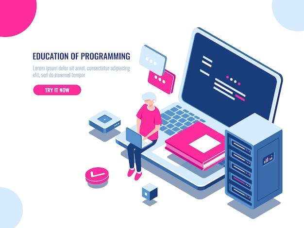 Programmavoorlichting, jonge man werkt op laptop, online leren en internetcursus