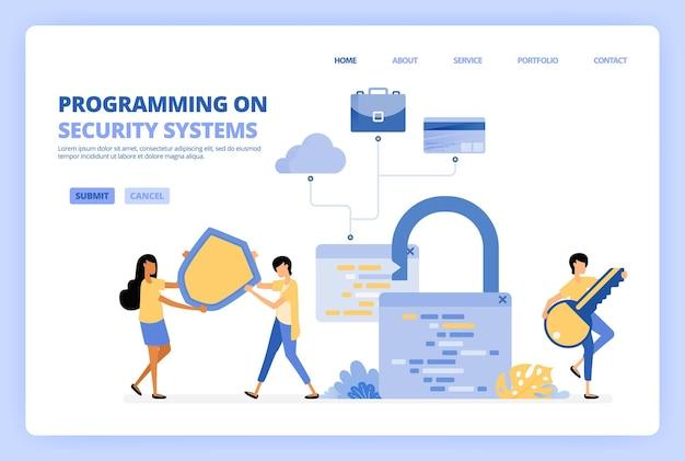 Programmeer beveiligingssystemen voor zakelijke illustratie