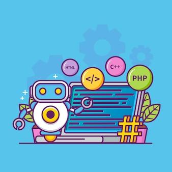 Programmeerconcept met assistent-robot