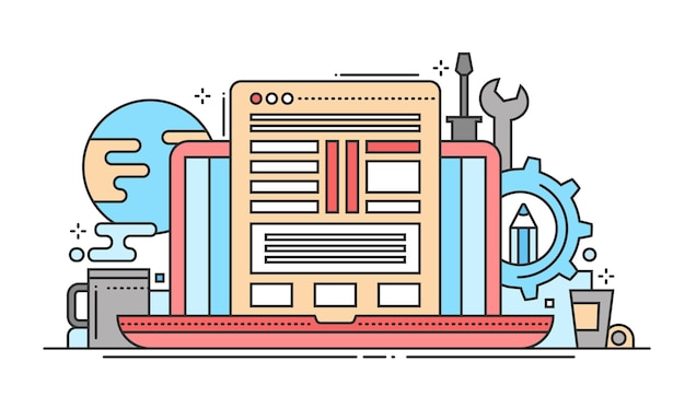 Programmeerhulpmiddelen - moderne lijn platte ontwerp vectorillustratie met laptop, webpagina, werkplek en tools