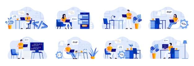 Programmeerscènes bundelen met personages. frontend- en backend-ontwikkelaars die werken met computers in kantoor-, software-ontwerp- en coderingssituaties. programma's ontwikkeling vlakke afbeelding