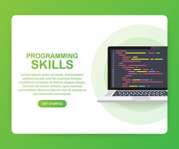 Programmeervaardigheden voor website en mobiele sjabloon