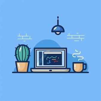Programmeerwerkruimte op blauw