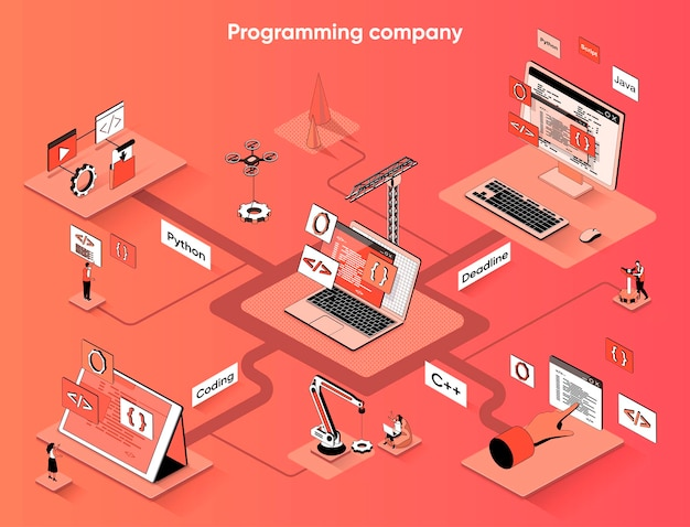 Programmering bedrijf isometrische webbanner platte isometrie