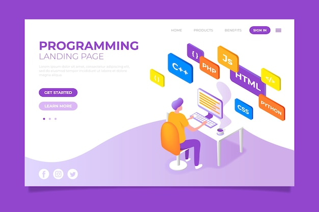 Programmering bestemmingspagina concept