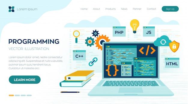 Programmering codering. ontwikkeling en softwareconcept. werkplek en werken aan de bestemmingspagina van de laptop