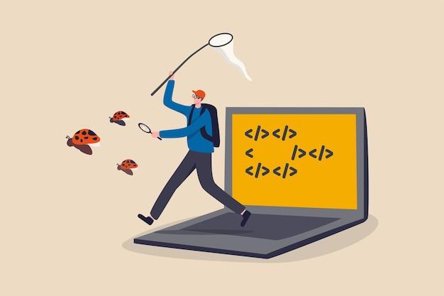 Programmering debuggen zoeken naar toepassingssoftware bug en fix code concept