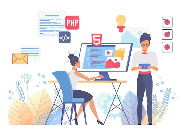 Programmering en codering, ux ui-webontwerp, responsief interface-ontwikkelingsconcept