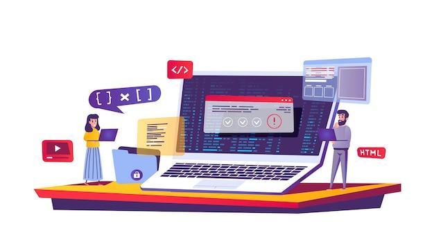 Programmering en codering van webconcept in cartoon-stijl