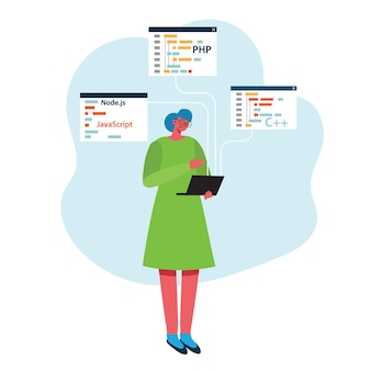 Programmering en codering, website-ontwikkeling, webdesign. vlakke stijl.