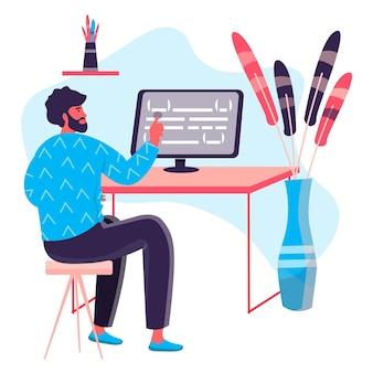 Programmering en software ontwikkelingsconcept. man-ontwikkelaar optimaliseert programmacode op computer, programmeur werkt op kantoorkarakterscène. vectorillustratie in plat ontwerp met activiteiten voor mensen