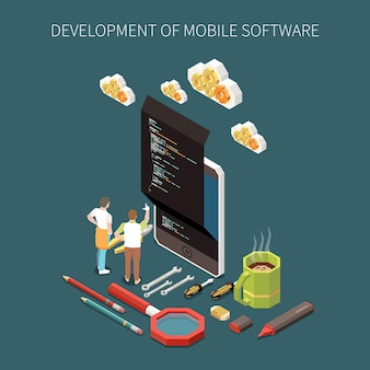 Programmering ontwikkelingsconcept met mobiele software symbolen isometrisch