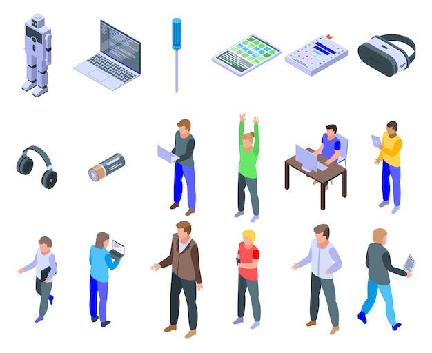 Programmering voor kinderen iconen set, isometrische stijl