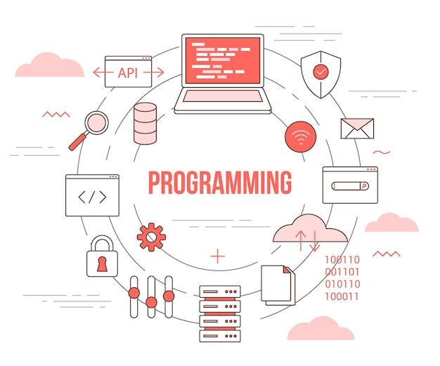 Programmeringstechnologieconcept met ingestelde sjabloonbanner met moderne oranje kleurstijl