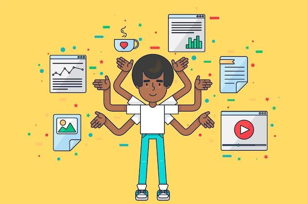 Programmeur aan het werk. afro-amerikaanse seo-specialist met veel handen bezig met coderen. diverse it-technicus, webdesigner, ontwikkelaar en computeringenieur concept platte vectorillustratie