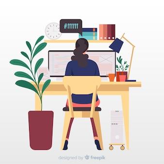 Programmeur bij desktop werkende illustratie