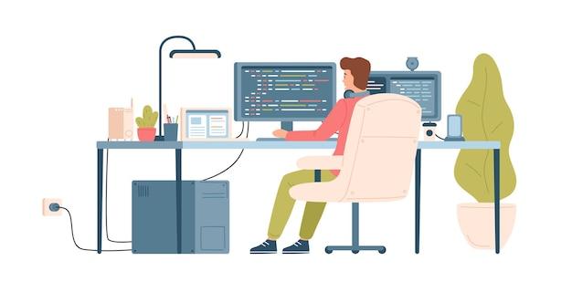 Programmeur, coder, webontwikkelaar of softwareingenieur zit aan bureau en werkt op de computer