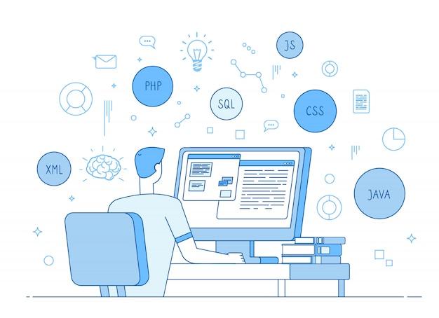 Programmeur coderingswebsite. coder web er werkt op javascript, php code programmeertaal. software ontwikkelingsconcept