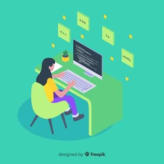 Programmeur die met de computer werkt