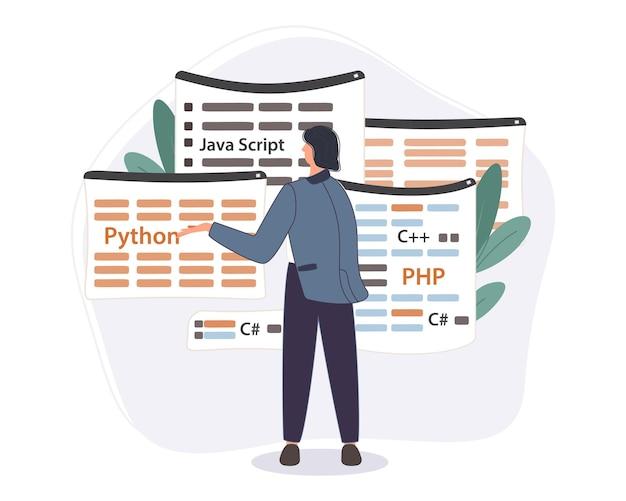 Programmeur die werkt aan webontwikkelingscode. ingenieur programmeren in python, php en java script op computer.