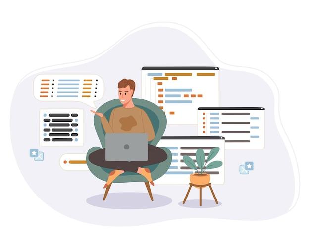 Programmeur die werkt aan webontwikkelingscode. ingenieur programmeren in python, php en java script op computer. Gratis Vector