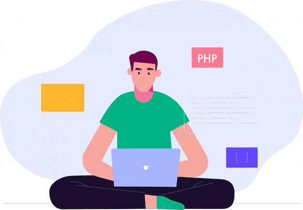 Programmeur en proces codering en programmering concept. vector