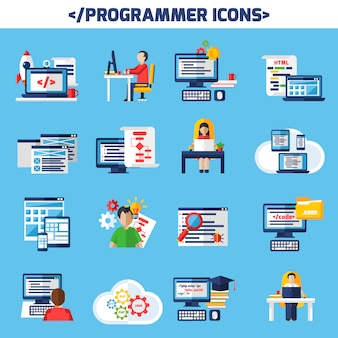 Programmeur flat color decoratieve icons set