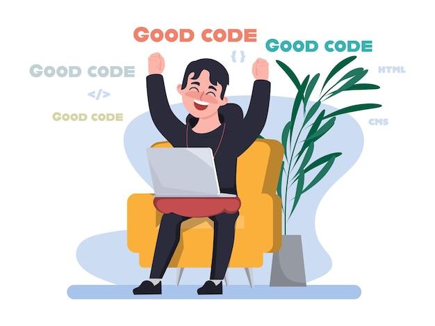 Programmeur goede codering ontwikkelaar programmeren met laptop op stoel thuiswerken