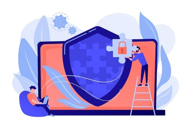 Programmeur met decoupeerzaagschermsysteem dat netwerkverkeer bewaakt. firewall, netwerkbeveiligingssysteem en netwerkfirewallconcept